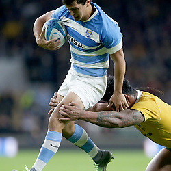 Matias Moroni of Argentina is tackled by Lopeti Timani of Australia during the The Rugby Championship match between Argentina and Australia at Twickenham Stadium, Twickenham - 08/10/2016<br />