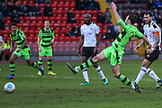 Forest Green Rovers Christian Doidge(9) shoots at goal and hits the post during the Vanarama National League match between Gateshead and Forest Green Rovers at Gateshead International Stadium, Gateshead, United Kingdom on 18 February 2017. Photo by Shane Healey.