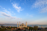 The Sultan Ahmed Mosque (Turkish: Sultan Ahmet Camii) is popularly known as the Blue Mosque because of the blue tiles adorning the walls of its interior.<br /> It was built from 1609 to 1616, during the rule of Ahmed I. Its K&uuml;lliye contains a tomb of the founder, a madrasah and also a hospice.
