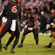 10 November 2018: San Diego State Aztecs running back Juwan Washington (29) looks to break through the gap on a rushing play in the third quarter. The Aztecs lost 27-24 to UNLV Saturday night at SDCCU Stadium falling a game behind Fresno State in the conference standings.