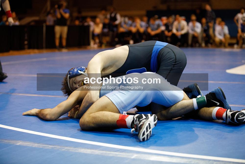 2017 February 08: Duke Blue Devils wrestling during a 25-15 loss to the the North Carolina Tar Heels at Card Gymnasium in Durham, NC.<br /> <br /> 133: Cole Baumgartner (Duke) tech fall Nicolas Lirette, 18-2