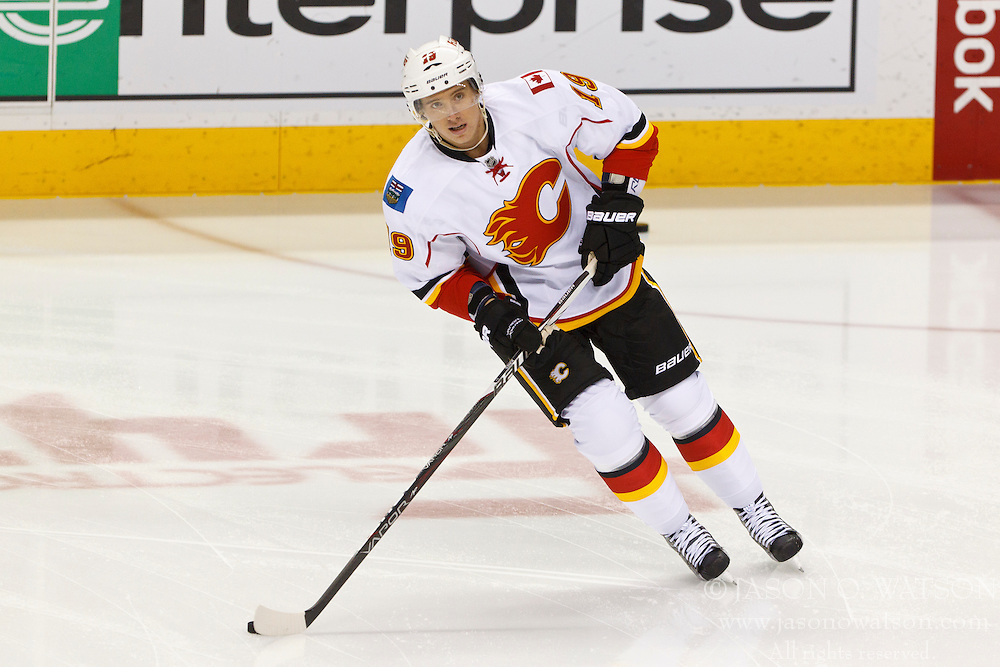 Jan 17, 2012; San Jose, CA, USA; Calgary Flames center Blair Jones (19) warms up before the game against the San Jose Sharks at HP Pavilion. San Jose defeated Calgary 2-1 in shootouts. Mandatory Credit: Jason O. Watson-US PRESSWIRE