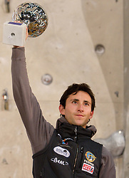 Men Overall lead winner Ramon Julian Puigblanque of Spain  at Trophy ceremony during Final IFSC World Cup Competition in sport climbing Kranj 2010, on November 14, 2010 in Arena Zlato polje, Kranj, Slovenia. (Photo By Vid Ponikvar / Sportida.com)