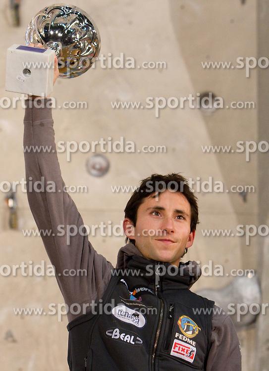 Men Overall lead winner Ramon Julian Puigblanque of Spain  at Trophy ceremony during Final IFSC World Cup Competition in sport climbing Kranj 2010, on November 14, 2010 in Arena Zlato polje, Kranj, Slovenia. (Photo By Vid Ponikvar / Sportida.com)