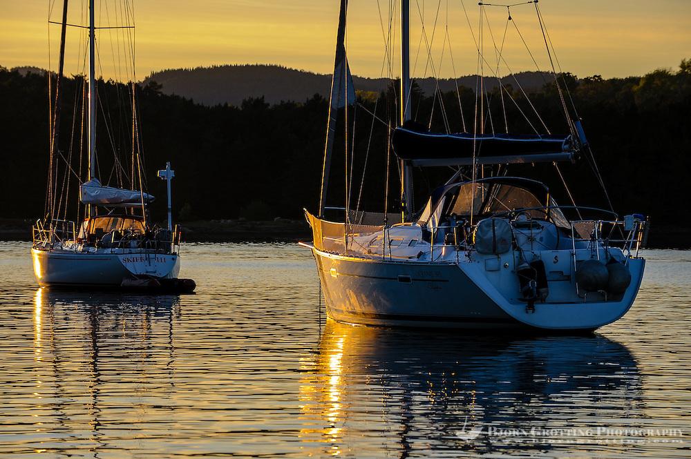 Norway, Hjelmeland. Sunset at Randøy.