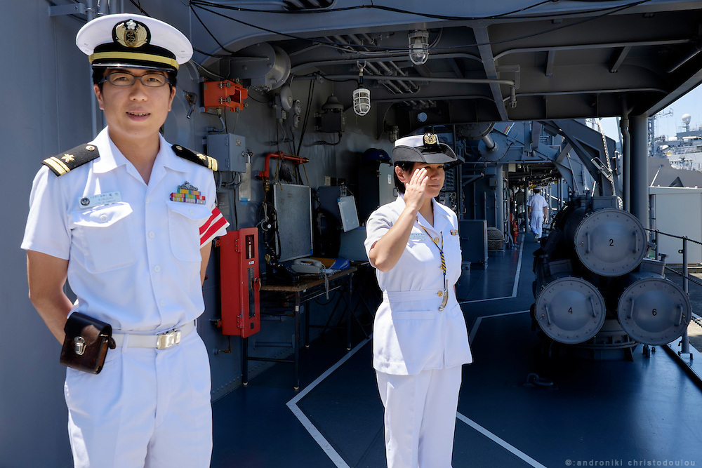 Officers on the Yamagiri ship. <br /> <br /> Miho Ootani, the first woman destroyer captain of Japan's Marine Self Defence Forces (MSDF), on board the Yamagiri in Yokosuka army base near Tokyo.