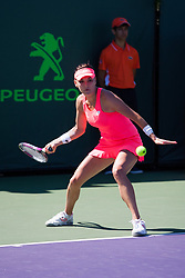 March 22, 2018 - Key Biscayne, FL, U.S. - KEY BISCAYNE, FL - MARCH 22: Agnieszka Radwanska (POL) in action on Day 4 of the Miami Open on March 22, 2018, at Crandon Park Tennis Center in Key Biscayne, FL. (Photo by Aaron Gilbert/Icon Sportswire) (Credit Image: © Aaron Gilbert/Icon SMI via ZUMA Press)