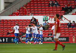 Tom Bradshaw of Walsall (C) celebrates scoring his sides second goal - Mandatory byline: Jack Phillips / JMP - 07966386802 - 11/08/15 - FOOTBALL - The City Ground - Nottingham, Nottinghamshire - Nottingham Forest v Walsall - Football League Cup Round 1