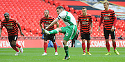 Liam King pulls one back from the spot during the FA Carlsberg Trophy Final match between North Ferriby United and Wrexham FC at Eon Visual Media Stadium, North Ferriby, United Kingdom on 29 March 2015. Photo by Michael Hulf.