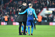 AFC Bournemouth manager Eddie Howe with Jack Wilshere (10) of Arsenal at full time after a 2-1 win over Arsenal during the Premier League match between Bournemouth and Arsenal at the Vitality Stadium, Bournemouth, England on 14 January 2018. Photo by Graham Hunt.
