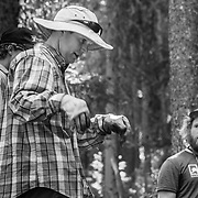 Harlan Hottenstein explains what is on the day's activities during a Teton Freedom Riders trail building day.