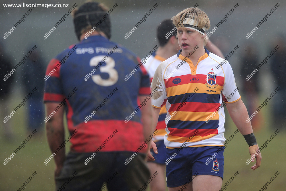 Henry Bell of John McGlashan College looks on, during the Otago Secondary Schools Competition final between John McGlashan College 1st XV and South Otago High School 1st XV, held at John McGlashan College, Dunedin, New Zealand, on the 8th of August 2015, Credit: Joe Allison / allisonimages.co.nz