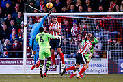 Forest Green Rovers goalkeeper Bradley Collins (1), on loan from Chelsea,  tips the cross during the EFL Sky Bet League 2 match between Lincoln City and Forest Green Rovers at Sincil Bank, Lincoln, United Kingdom on 30 December 2017. Photo by Simon Davies.