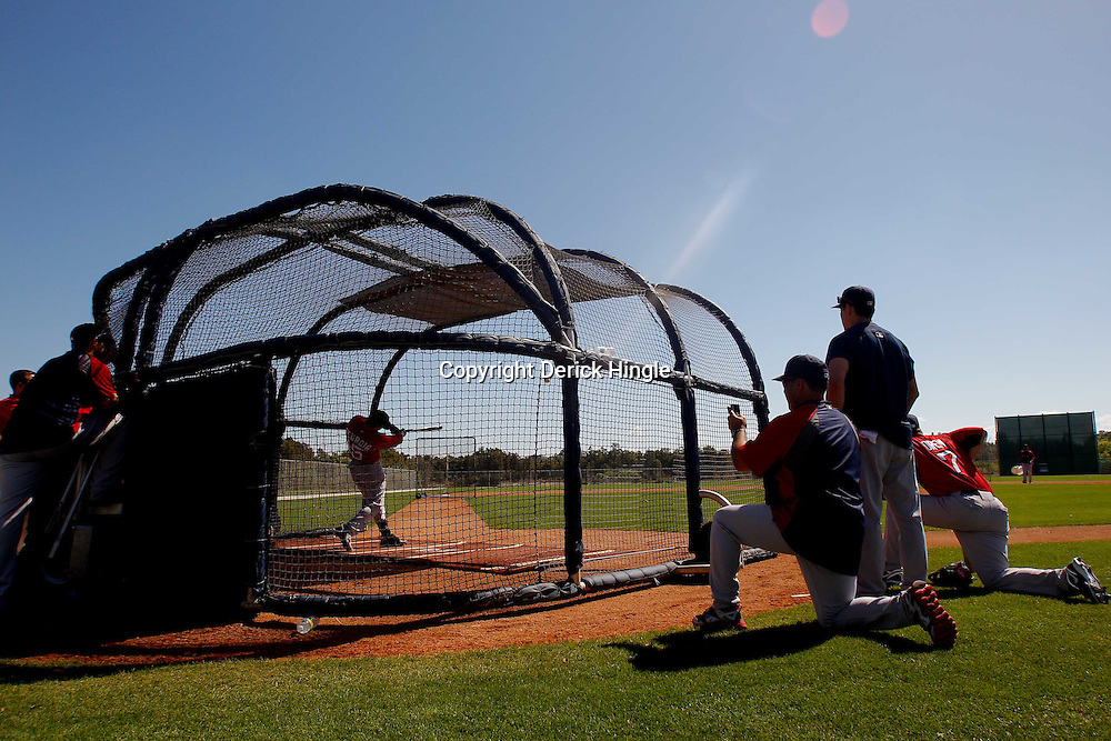 February 23, 2011; Fort Myers, FL, USA; Boston Red Sox second baseman Dustin Pedroia (15) takes batting practice during spring training at the Player Development Complex.  Mandatory Credit: Derick E. Hingle