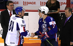Marcel Hossa of Slovakia and Anze Kopitar of Slovenia, best players at ice-hockey game Slovenia vs Slovakia at Relegation  Round (group G) of IIHF WC 2008 in Halifax, on May 09, 2008 in Metro Center, Halifax, Nova Scotia, Canada. Slovakia won 5:1. (Photo by Vid Ponikvar / Sportal Images)