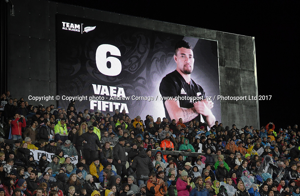 Vaea Fifita on the big screen.<br /> Rugby Championship test match rugby union. New Zealand All Blacks v Argentina Los Pumas, Yarrow Stadium, New Plymouth. New Zealand. Saturday 9 September 2017. &copy; Copyright photo: Andrew Cornaga / www.Photosport.nz