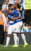 Charlie Austin (QPR striker) celebrating scoring his penalty with Matt Phillips (QPR midfielder) during the Sky Bet Championship match between Queens Park Rangers and Rotherham United at the Loftus Road Stadium, London, England on 22 August 2015. Photo by Matthew Redman.