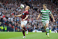 Football - Scottish Cup Semi-Final - Celtic vs. Heart of Midlothian<br /> Andrew Driver (Hearts) controls on his chest Charlie Mulgrew (Celtic) watches on at Hampden Park.