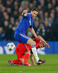 Marco Verratti of Paris Saint-Germain is challenged by Nemanja Matic of Chelsea - Photo mandatory by-line: Rogan Thomson/JMP - 07966 386802 - 11/03/2015 - SPORT - FOOTBALL - London, England - Stamford Bridge - Chelsea v Paris Saint-Germain - UEFA Champions League Round of 16 Second Leg.