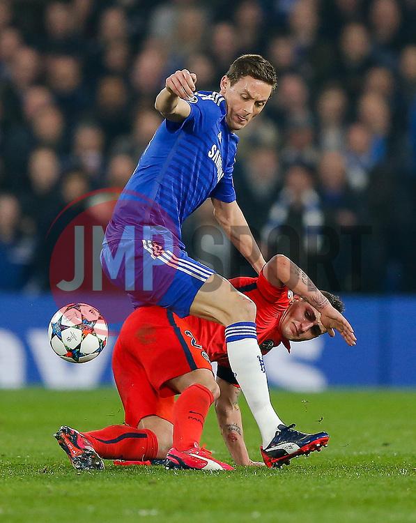 Marco Verratti of Paris Saint-Germain is challenged by Nemanja Matic of Chelsea - Photo mandatory by-line: Rogan Thomson/JMP - 07966 386802 - 11/03/2015 - SPORT - FOOTBALL - London, England - Stamford Bridge - Chelsea v Paris Saint-Germain - UEFA Champions League Round of 16 Second Leg.