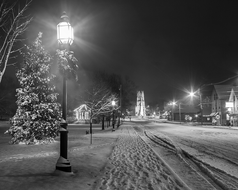 Maine Street shine at night after the first snow of the holiday season.