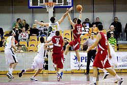 Vladimir Golubovic of Olimpija vs Vuk Radivojevic at basketball match of NLB League between KK Union Olimpija and KK Crvena zvezda,  on October 24, 2009, Arena Tivoli, Ljubljana, Slovenia.  Union Olimpija won 94:76.  (Photo by Vid Ponikvar / Sportida)