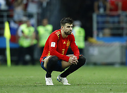 July 1, 2018 - Moscow, Russia - Round of 16 Russia v Spain - FIFA World Cup Russia 2018.Gerard Pique (Spain) disappointment during the penalties at Luzhniki Stadium in Moscow, Russia on July 1, 2018. (Credit Image: © Matteo Ciambelli/NurPhoto via ZUMA Press)