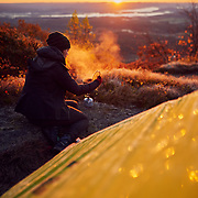 Breakfast at sunrise on Mount Race Berkshires Shefflied, Massachusetts