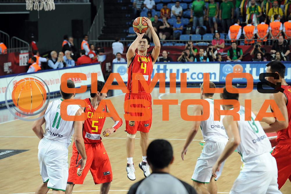 DESCRIZIONE : Istanbul Turchia Turkey Men World Championship 2010 Eight Finals Campionati Mondiali Ottavi di Finale Lithuania Lituania China Cina<br /> GIOCATORE : Din Jinhui<br /> SQUADRA : China Cina<br /> EVENTO : Istanbul Turchia Turkey Men World Championship 2010 Campionato Mondiale 2010<br /> GARA : Lithuania China Lituania Cina<br /> DATA : 07/09/2010<br /> CATEGORIA : tiro<br /> SPORT : Pallacanestro <br /> AUTORE : Agenzia Ciamillo-Castoria/GiulioCiamillo<br /> Galleria : Turkey World Championship 2010<br /> Fotonotizia : Istanbul Turchia Turkey Men World Championship 2010 Eight Finals Campionati Mondiali Ottavi di Finale Lithuania China<br /> Predefinita :