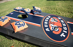 Auburn fans corn hole prior to the Chick-fil-A Kickoff Game at  the Mercedes-Benz Stadium, Saturday, September 1, 2018, in Atlanta. (AJ Reynolds via Abell Images for Chick-fil-A Kickoff)
