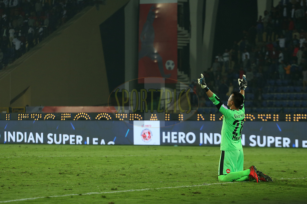 Lathuammawia Ralte of Bengaluru FC celebrates the win during match 19 of the Hero Indian Super League between NorthEast United FC and Bengaluru FC held at the Indira Gandhi Athletic Stadium, Guwahati India on the 8th December 2017<br /> <br /> Photo by: Ron Gaunt / ISL / SPORTZPICS