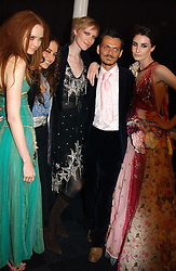 Left to right, LILY COLE, ELIZABETH JAGGER, JADE PARFITT, MATTHEW WILLIAMSON and ERIN O'CONNOR at the Moet & Chandon Fashion Tribute 2005 to Matthew Williamson, held at Old Billingsgate, City of London on 16th February 2005.<br />