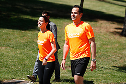 May 24, 2019 - Madrid, MADRID, SPAIN - The national spokesperson for Citizens (Ciudadanos), Ines Arrimadas, and the candidate of Cs to the Presidency of the Community of Madrid, Ignacio Aguado, participate in a 'Citizen Race' along with sympathizers and members of the orange formation. Park of the Alcazaba, Madrid, Spain, on May 24, 2019. (Credit Image: © AFP7 via ZUMA Wire)