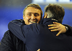 Birmingham City Manager, Lee Clark greets Bristol Rovers Manager, John Ward- Photo mandatory by-line: Joe Meredith/JMP - Tel: Mobile: 07966 386802 14/01/2014 - SPORT - FOOTBALL - St Andrew's Stadium - Birmingham - Birmingham City v Bristol Rovers - FA Cup - Third Round