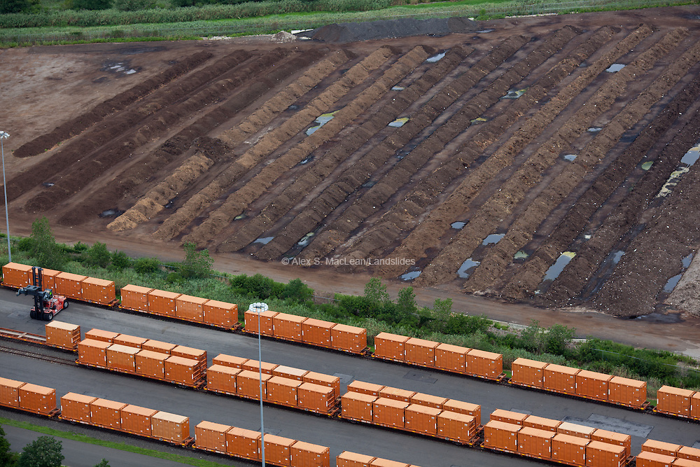 Rows of earth at the edge of Fresh Kills Landfill during its construction into a park