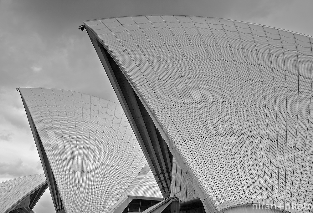 Detailed composition of iconic sail-like roof of the Sydney Opera House. The image reveals the painstaking detail of the individual tiles that make the roof of the magnificent building.