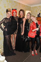 Left to right, MARISSA HERMER, KIM JOHNSON, GABRIELLA PEACOCK, ALICE NAYLOR-LEYLAND and OLIVIA McCALL at the Bumpkin Halloween Dinner hosted by Marissa Hermer held at Bumpkin, 119 Sydney Street, London on 23rd October 2014.