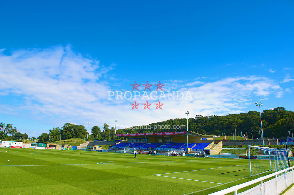BANGOR, WALES - Thursday, August 30, 2012: A general view of Bangor City's Nantporth Stadium before the International Friendly Under-16's match between Wales and Poland. (Pic by David Rawcliffe/Propaganda)