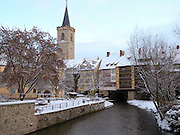 Krämerbrücke, Gera, Winter, Schnee, Erfurt, Thüringen, Deutschland.|.Kraemerbruecke, river Gera, winter, snow, Erfurt, Thuringia, Germany