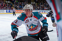KELOWNA, CANADA - DECEMBER 30: Kyle Pow #21 of the Kelowna Rockets skates past the bench against the Victoria Royals during first period on December 30, 2017 at Prospera Place in Kelowna, British Columbia, Canada.  (Photo by Marissa Baecker/Shoot the Breeze)  *** Local Caption ***