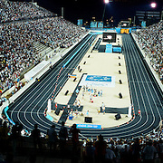 A panoramic view of runners entering the stadium for the finish during the men's marathon  during the Athens 2004 Summer Olympic Games at Panathinaiko Stadium in Athens, Greece. on August 29, 2004. Photo Tim Clayton