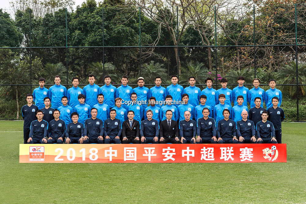 **EXCLUSIVE**Group shot of players of Guangzhou R&F F.C. for the 2018 Chinese Football Association Super League, in Guangzhou city, south China's Guangdong province, 23 February 2018.