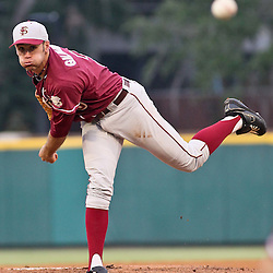 June 04, 2011; Tallahassee, FL, USA; Florida State Seminoles pitcher Sean Gilmartin (3) during the first inning of the Tallahassee regional of the 2011 NCAA baseball tournament against the Alabama Crimson Tide at Dick Howser Stadium. Mandatory Credit: Derick E. Hingle