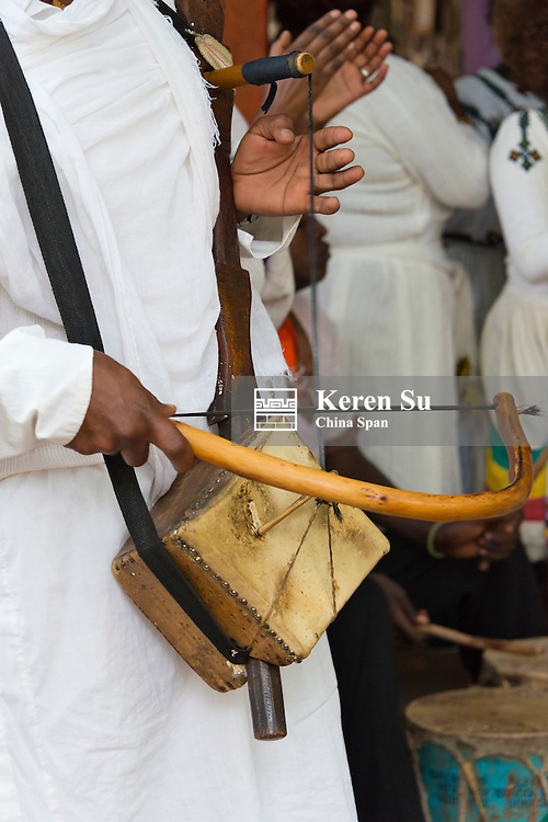 Amhara people's traditional musical instrument made of sheep skin, Gondar, Ethiopia