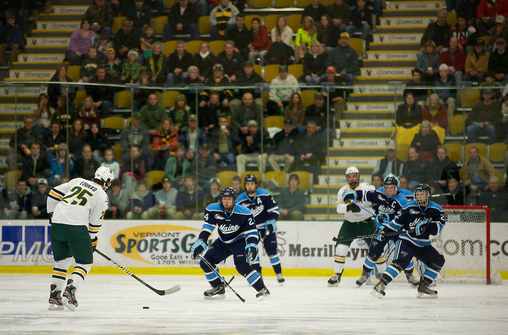 The men's hockey game between the Maine Blackbears and the Vermont Catamounts at Gutterson Fieldhouse on Friday night December 2, 2011 in Burlington, Vermont.
