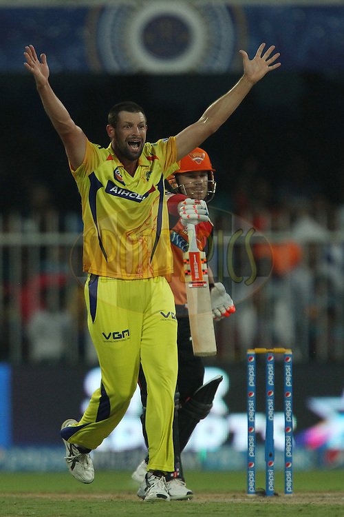 Ben Hilfenhaus of The Chennai Superkings appeals successfully for the wicket of David Warner of the Sunrisers Hyderabad during match 17 of the Pepsi Indian Premier League 2014 between the Sunrisers Hyderabad and the Chennai Superkings held at the Sharjah Cricket Stadium, Sharjah, United Arab Emirates on the 27th April 2014<br /> <br /> Photo by Ron Gaunt / IPL / SPORTZPICS
