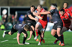 Andrew Conway of Munster takes on the Saracens defence - Photo mandatory by-line: Patrick Khachfe/JMP - Mobile: 07966 386802 17/01/2015 - SPORT - RUGBY UNION - London - Allianz Park - Saracens v Munster - European Rugby Champions Cup