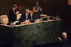 September 13, 2016 - New York, NY, United States - Incoming General Assembly President Peter Thomson (lower right) acknowledges outgoing General Assembly President Mogens Lykketoft (center top) before commencing with his remarks.  At back-to-back plenary sessions, the United Nations marked the close of the General Assembly's 70th session and the opening of its 71st, with the swearing in of Peter Thomson of Fiji as incoming President of the General Assembly. (Credit Image: © Albin Lohr-Jones/Pacific Press via ZUMA Wire)