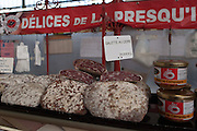 Rennes, FRANCE. General Views GV's. Rennes weekly regional market. Brittany,<br /> Vegetable's, Fruit, Flowers, Fish, Game, Meat, Cheese, local wine and cider, sold from stalls in the open and covered market  <br /> <br /> 09:18:35  Saturday  26/04/2014 <br /> <br />  [Mandatory Credit: Peter Spurrier/Intersport<br /> Images]