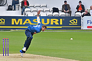 Charlie Hartley (Kent) bowling during the Royal London 1 Day Cup match between Surrey County Cricket Club and Kent County Cricket Club at the Kia Oval, Kennington, United Kingdom on 12 May 2017. Photo by Jon Bromley.